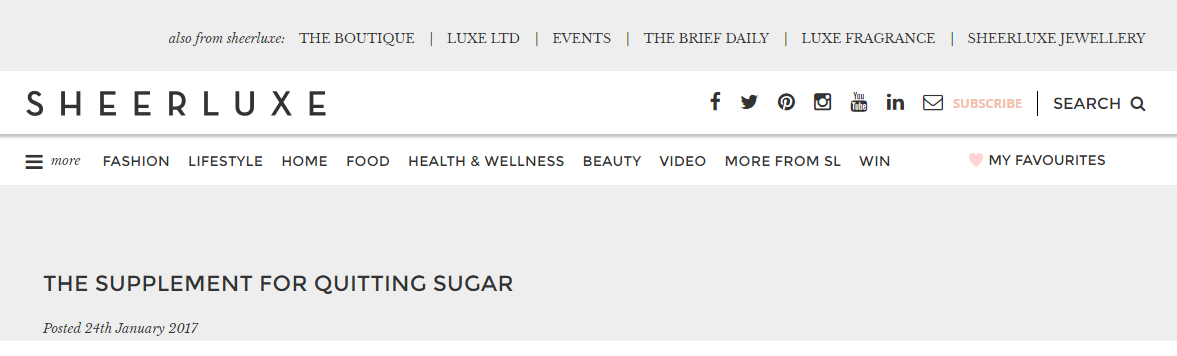 Viridian Nutriton's 7 Day Sugar Detox Kit appears in Sheerluxe magazine