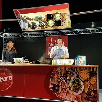 Fuelfood chef Oliver McCabe LIVE cooking demo at NOPE 17 with Viridian Nutrition