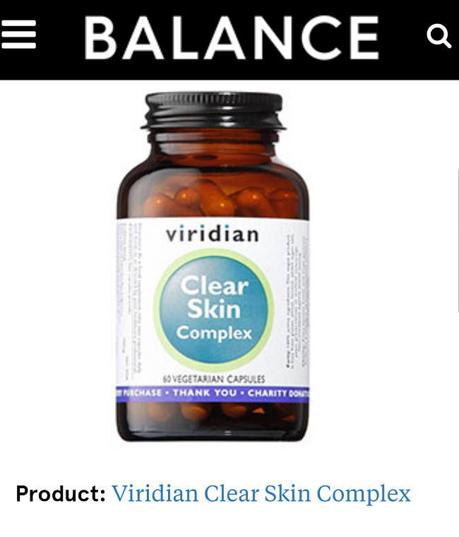 Viridian Nutrition's Clear Skin Complex highlighted in Balance magazine